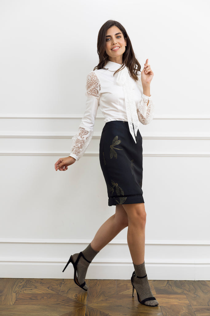 White Woman Bow Shirt with Contrast Sheer Sleeves