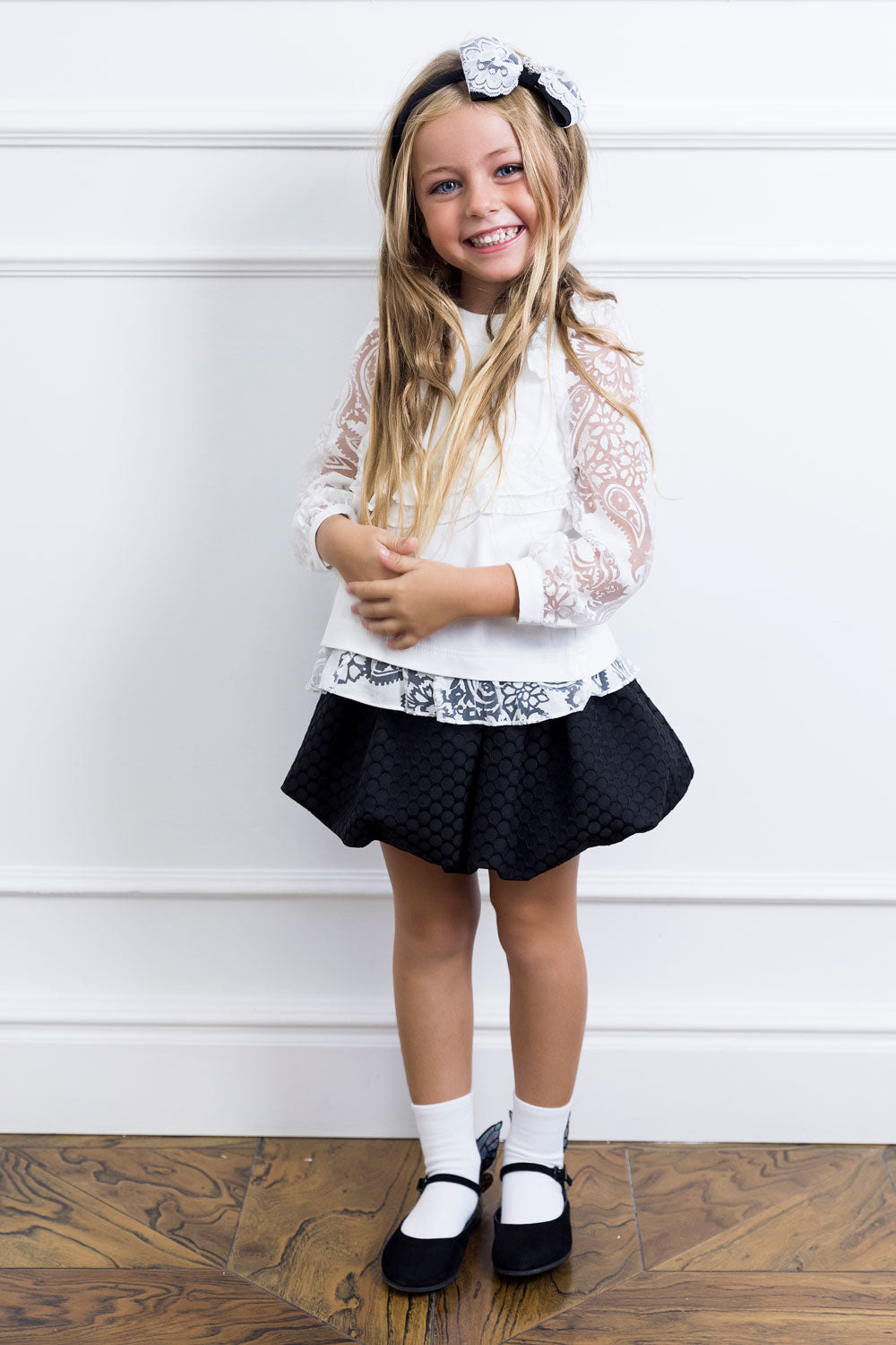 Black Dotty Mother And Daughter Matching Skirt Set