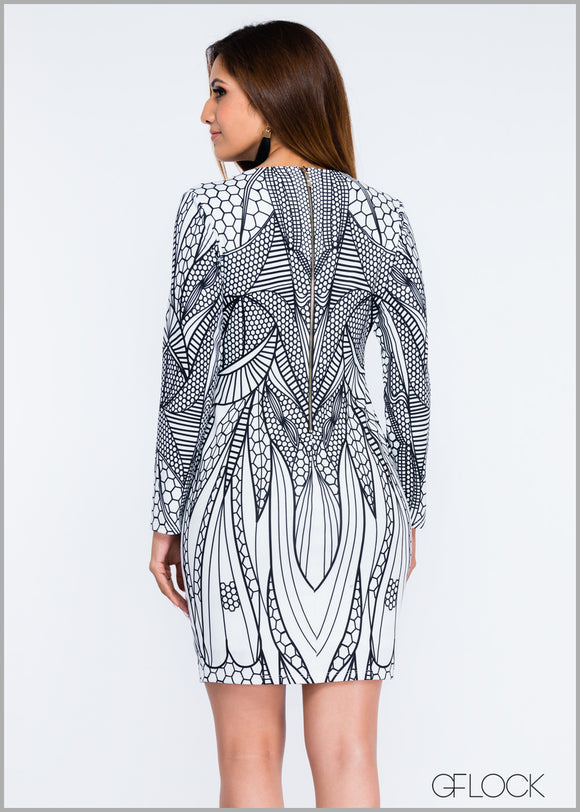 Placement Printed Midi Dress