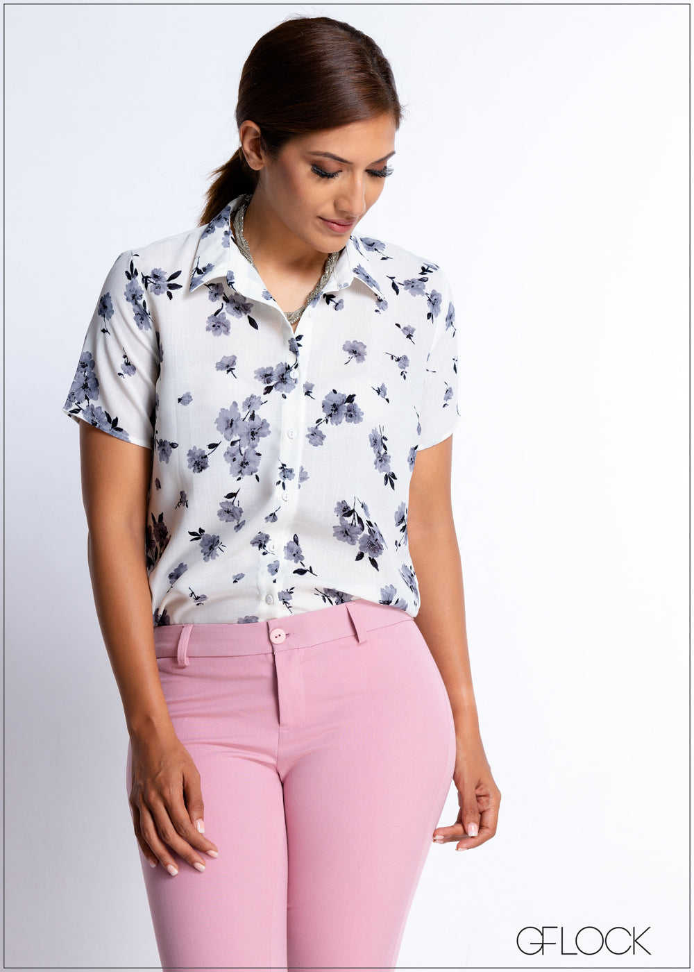 Mono Floral Printed Workwear Top