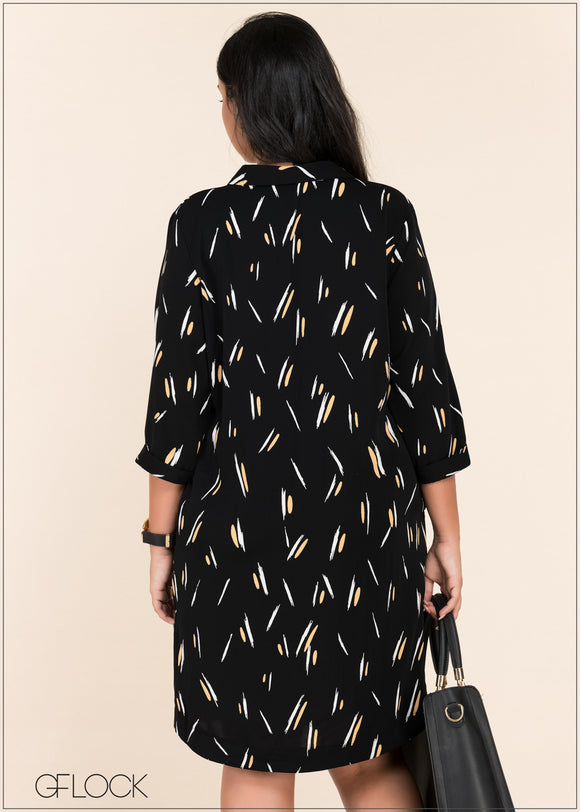Brushstroke Printed Dress - GFLOCK.LK