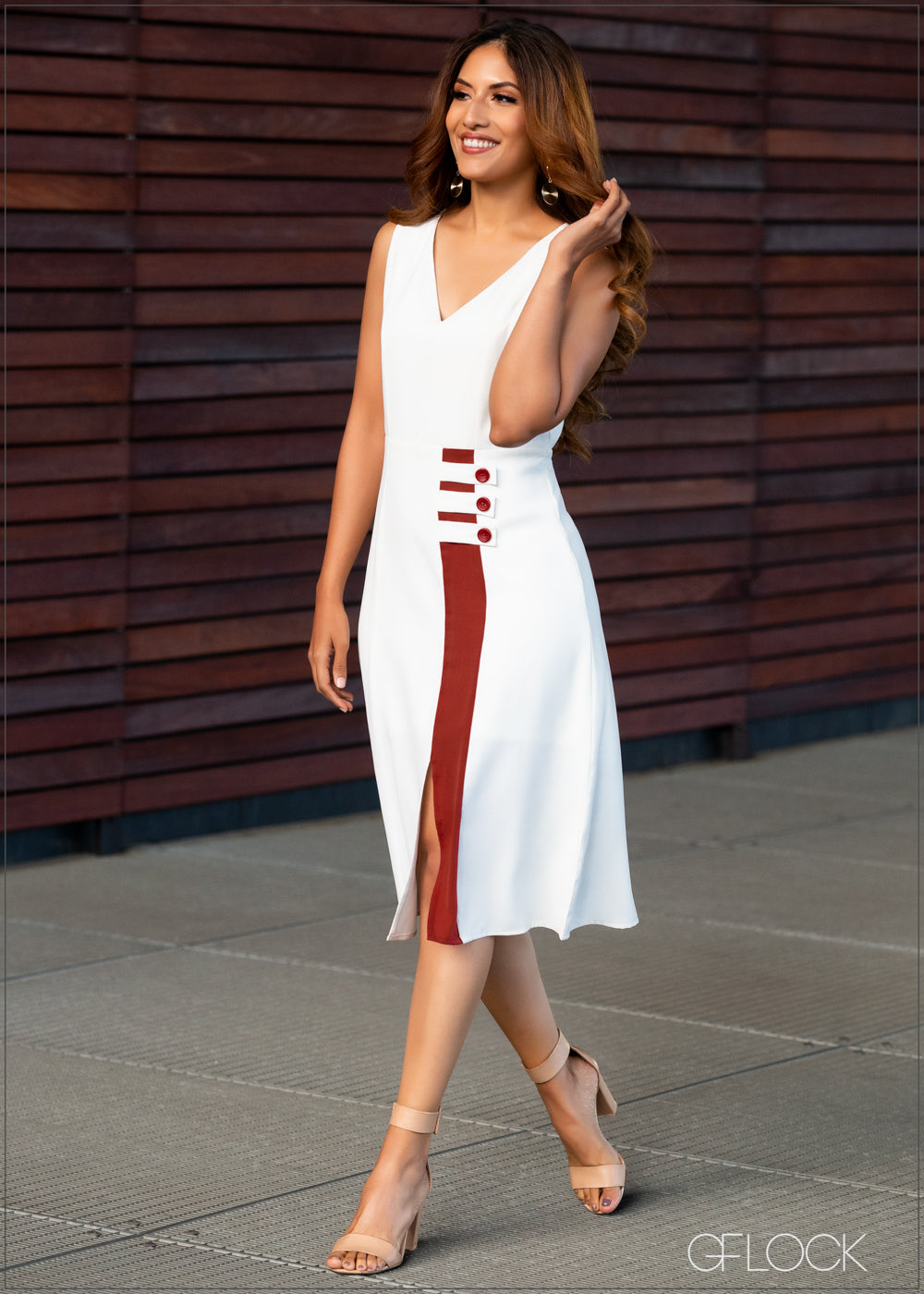 Midi Dress with Tab Detail