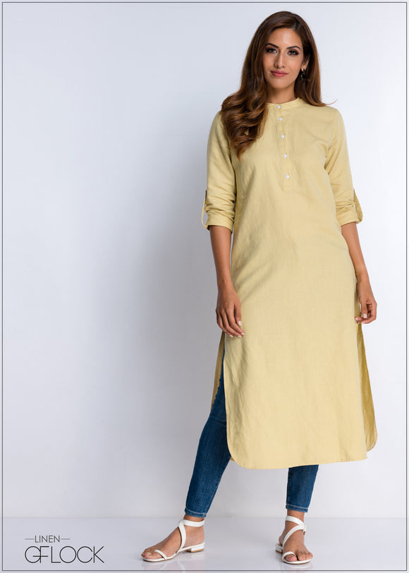 Linen Kurtha Maxi Dress