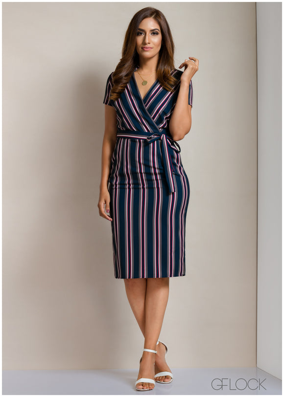 Striped Wrap Workwear Dress