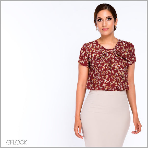 Knot Detail Printed Workwear Top