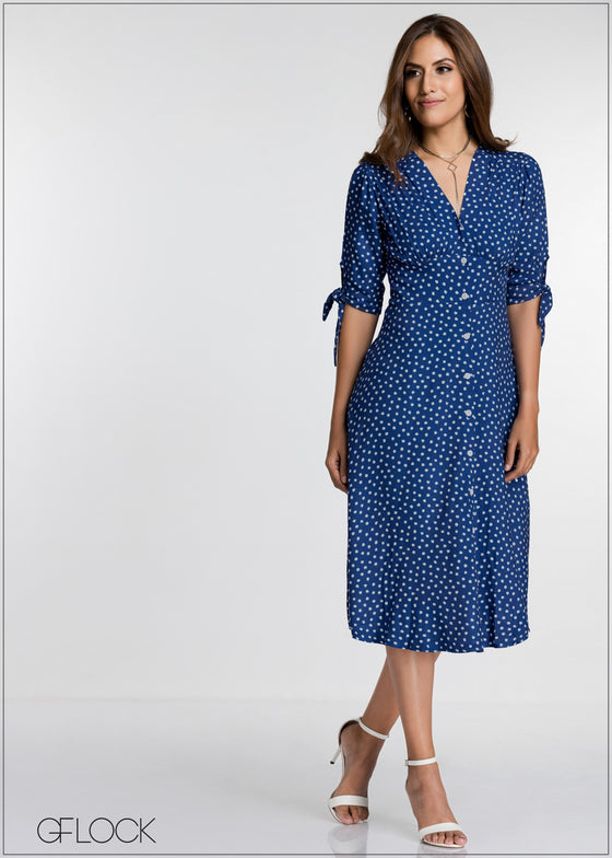 Dotted Sleeve Tie  Dress