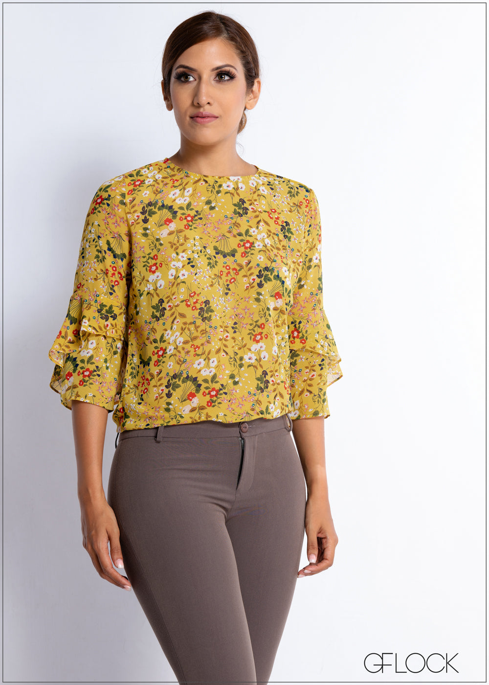 Frill Detail Floral Workwear Top