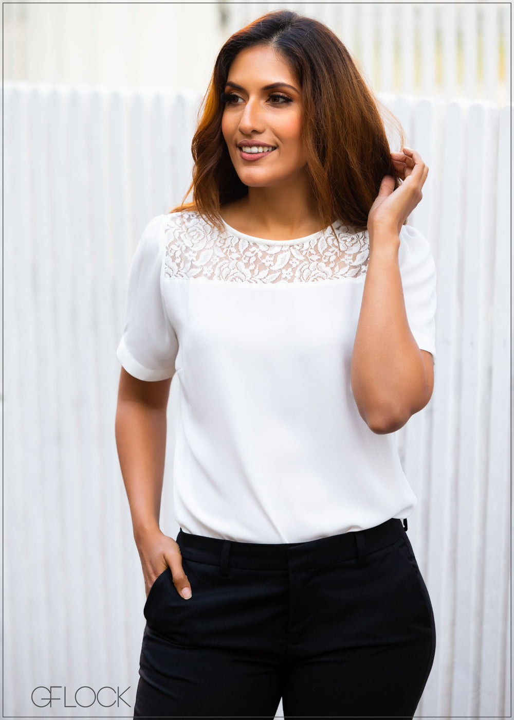 Lace Combo Short Sleeved Top