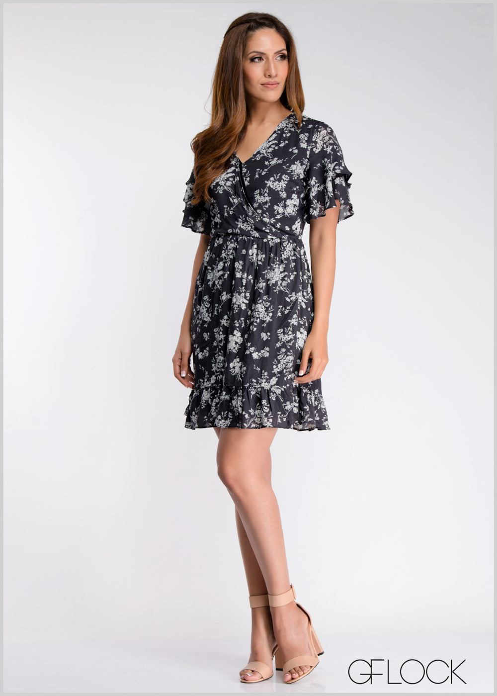 Frill Sleeve Overlapped Dress
