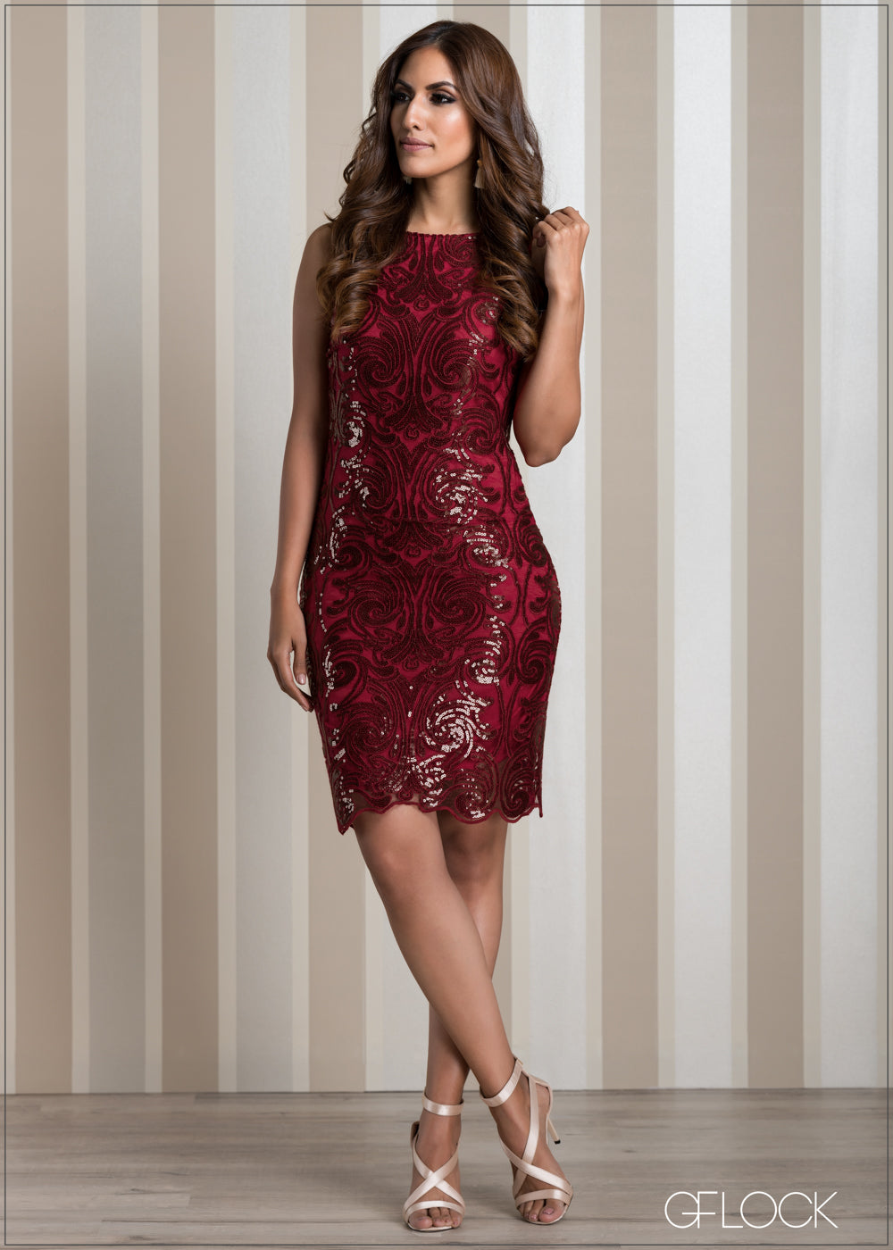 Sequin Lace Evening Dress