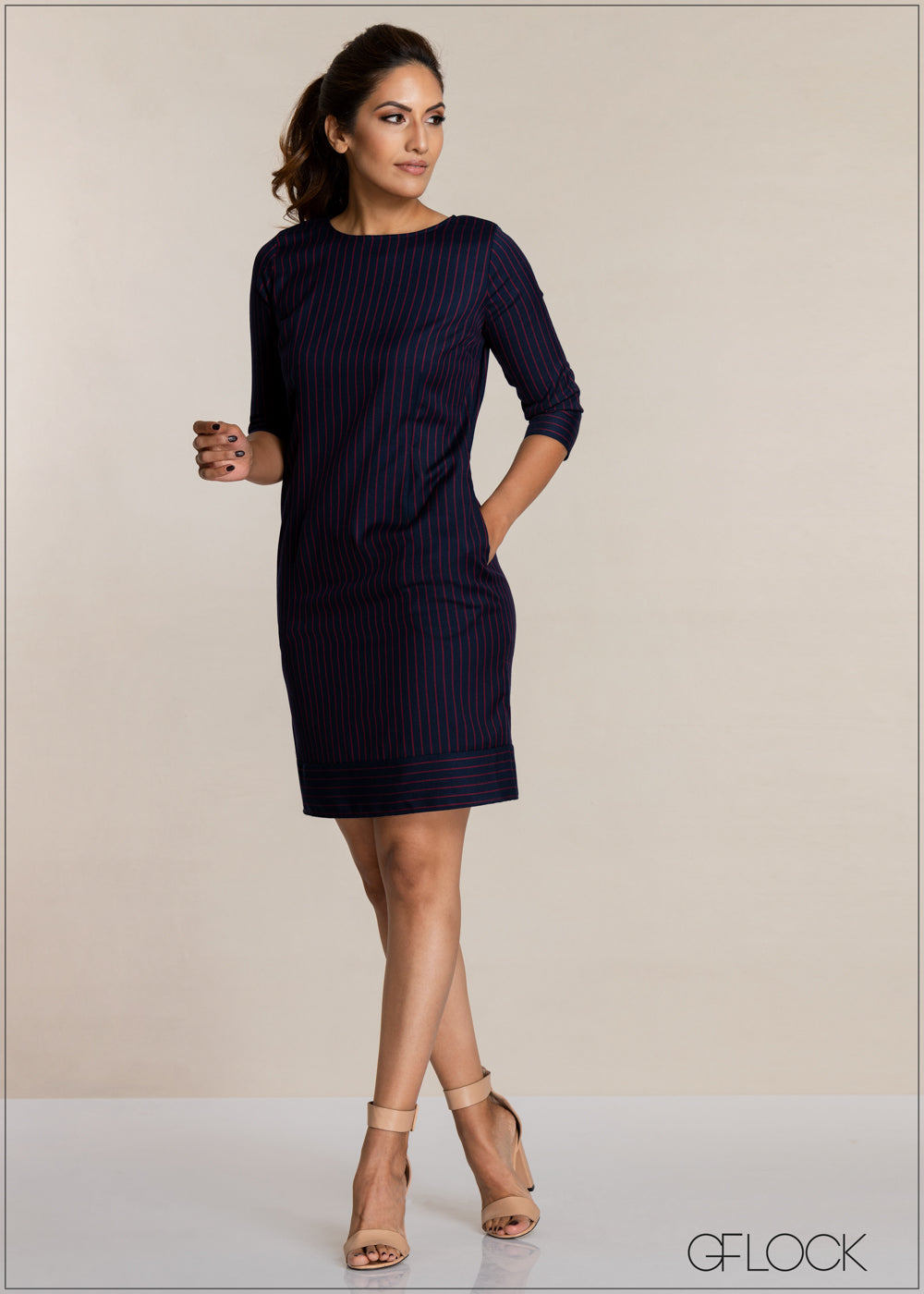 Striped Three Quarter Sleeve Dress