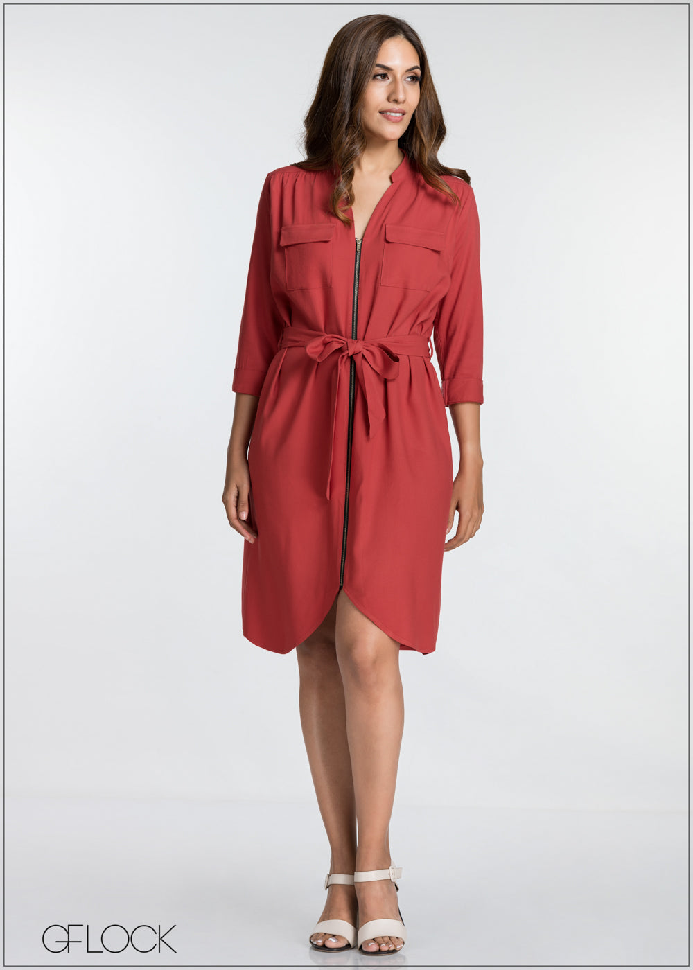 Front Zip Detail Dress