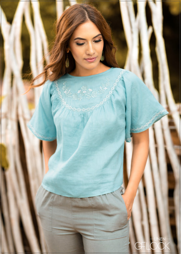 Embroidered Detailed Linen Top
