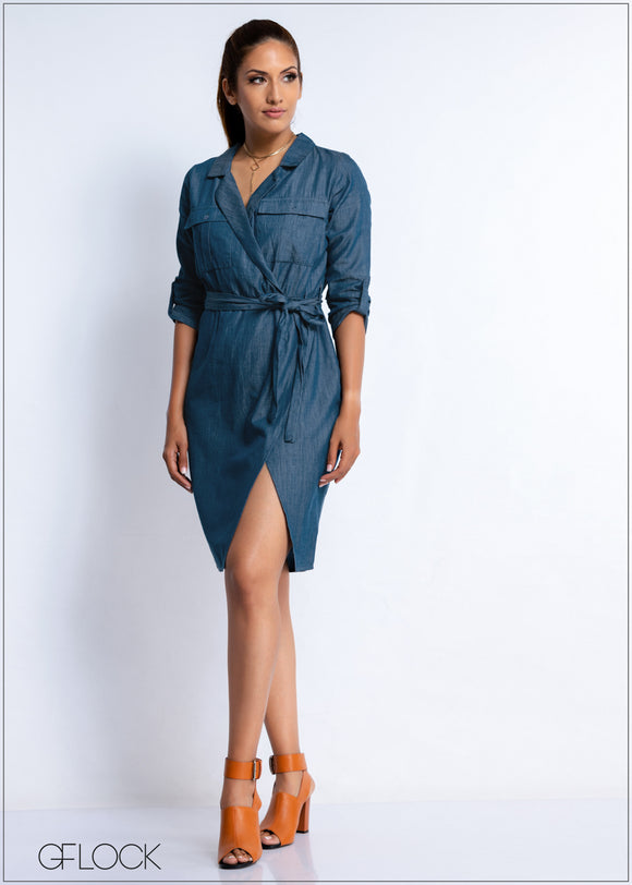 Front Wrap Denim Dress