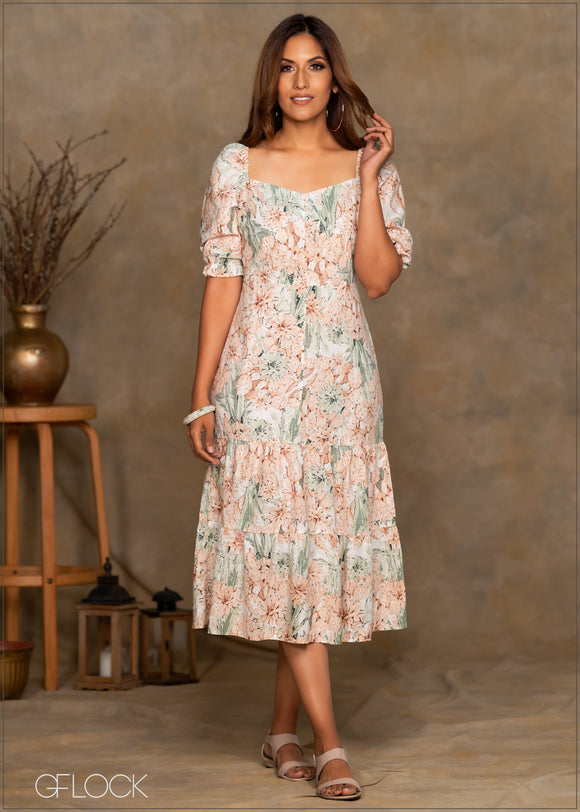 Printed Linen Dress with Tiers