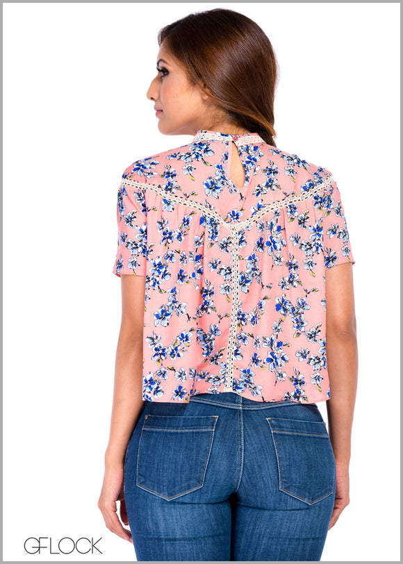 High Neck Floral Top