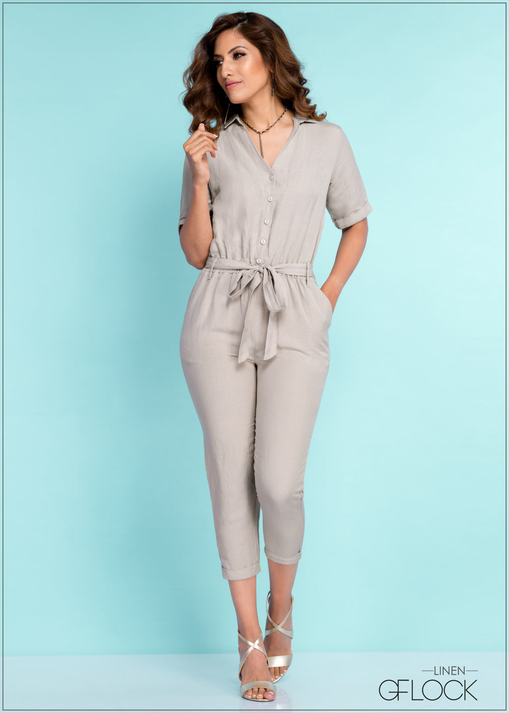 Regular Fit Linen Jump Suit