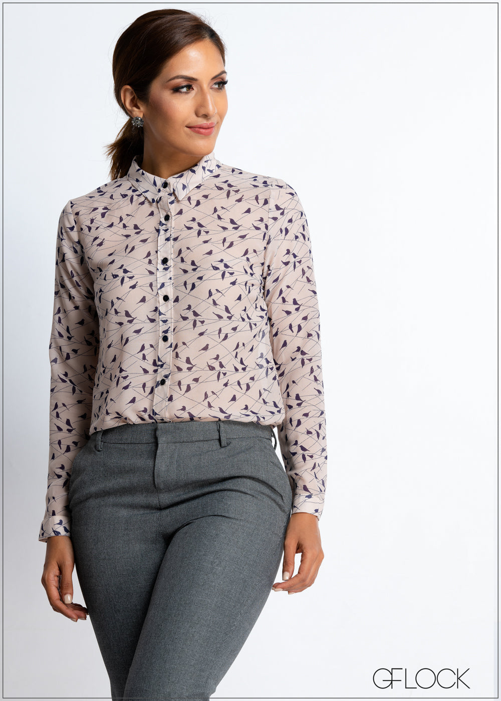 Bird Printed Workwear Top
