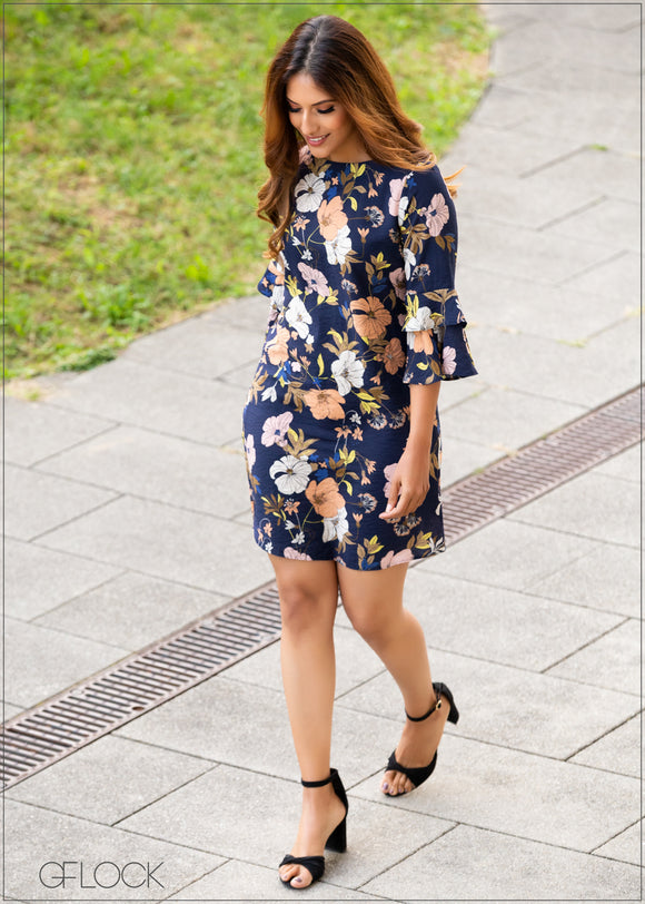 Printed Dress with Frill Sleeves