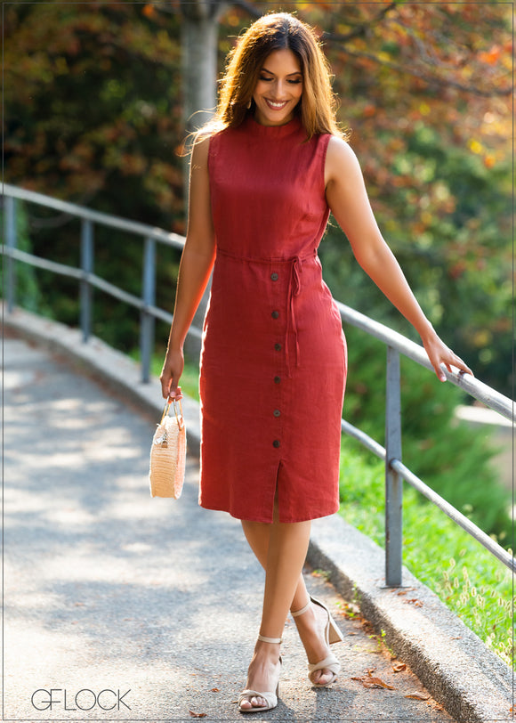 Side Buttoned Shift Dress
