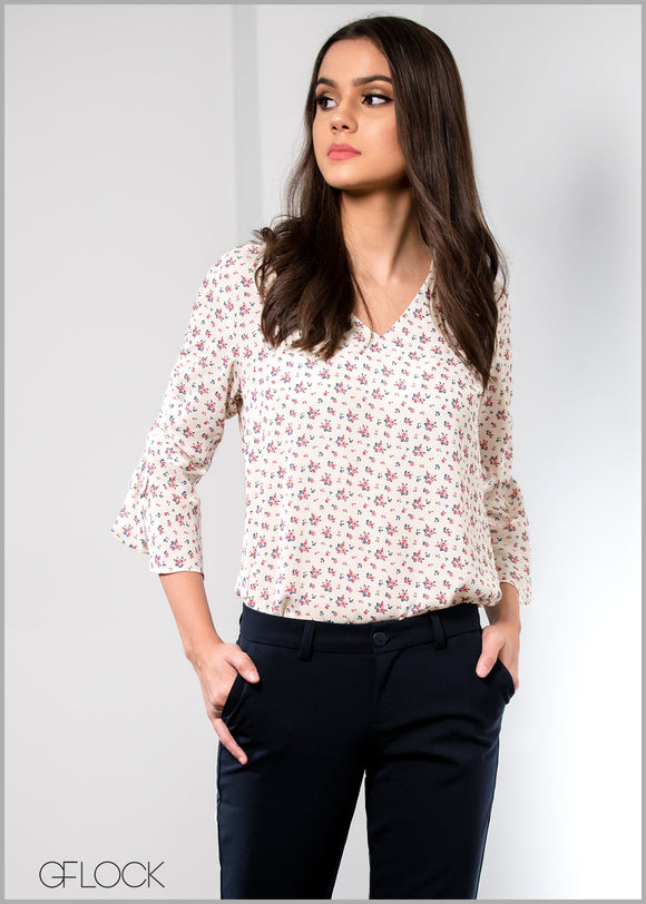 Ditsy Floral Sleeve Ruched Workwear Top