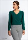 V Neck Long Sleeve Workwear Top
