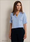 Buttoned Lapel Collar Workwear Top