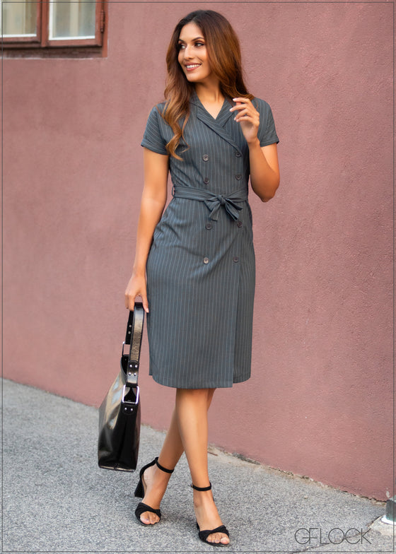 Lapel Collared Dress