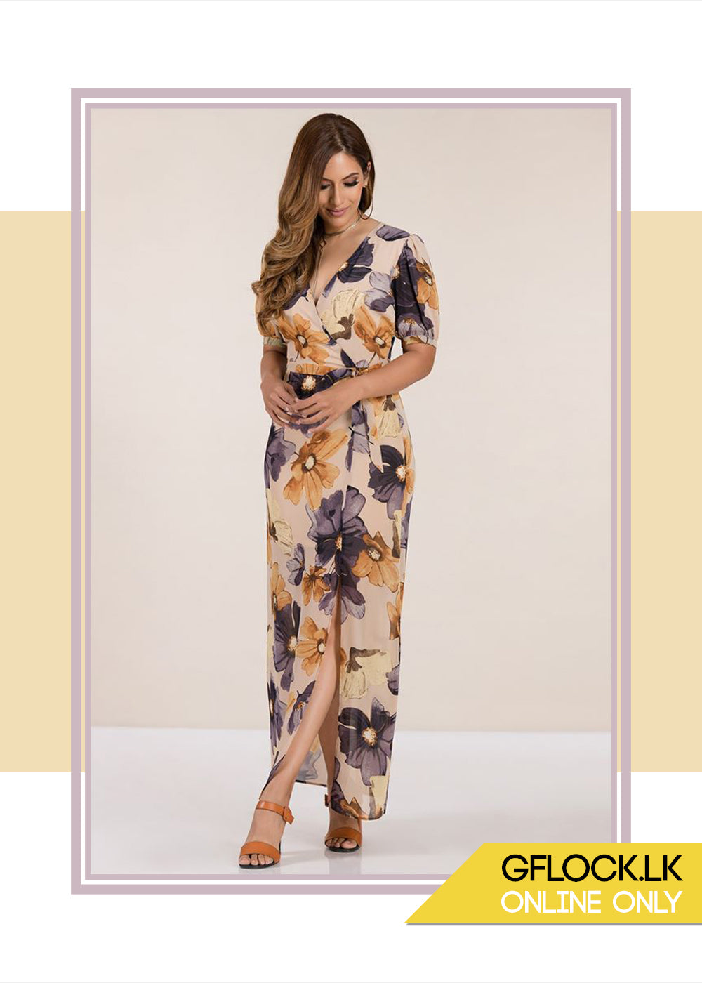 Printed Wrap Dress - GFLOCK.LK