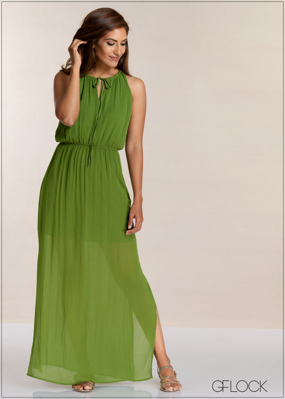 Waist Gathered Maxi Dress