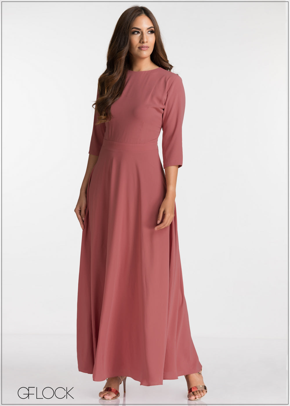 Three-Quarter Sleeve Evening Dress