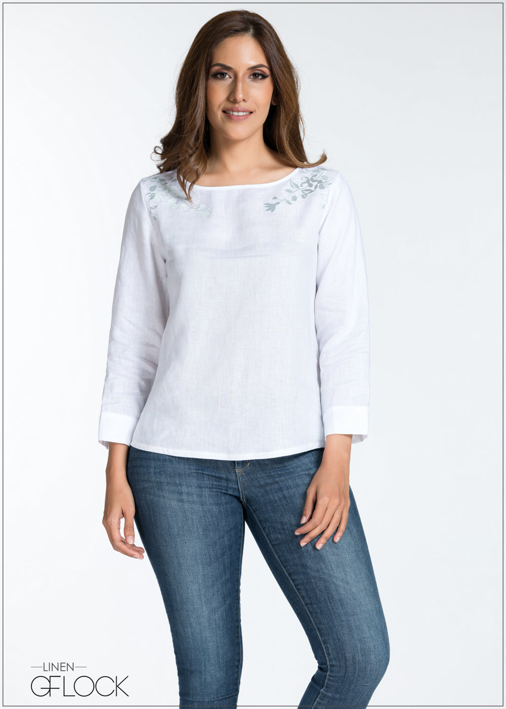 Embroidered Long Sleeve Linen Top