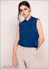 Drape Detail Satin Workwear Top