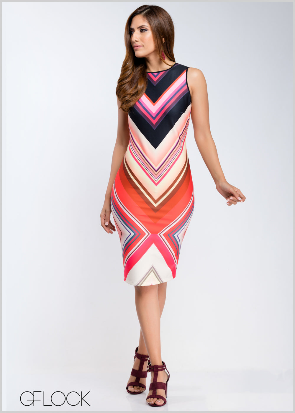 Printed Sleeveless Body-Con Dress