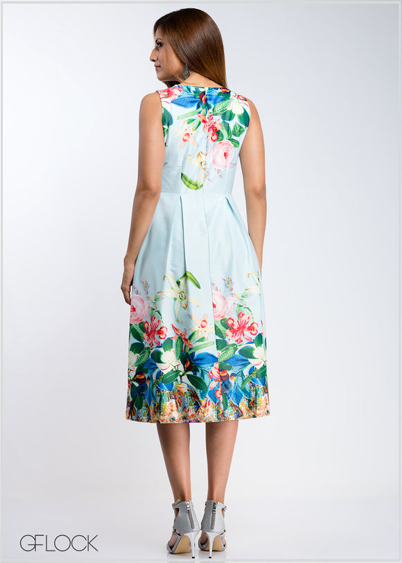 Floral Border Printed Dress