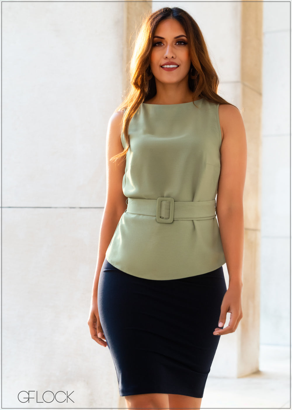 Sleeveless Top with Belt