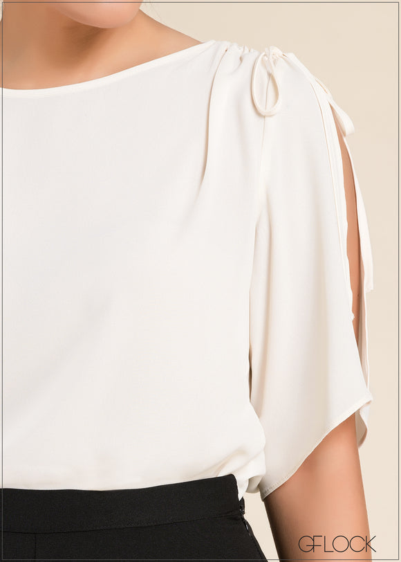 Ruched Split Sleeve Top