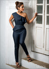 One Shouldered Denim Jumpsuit