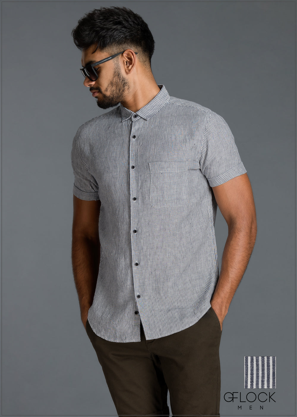 Normal Collar Short Sleeve Linen Shirt