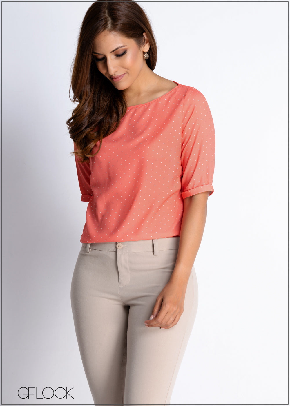 Dotted Turn Up Sleeve Workwear Top