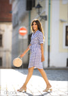 Striped Tie Shirt Dress