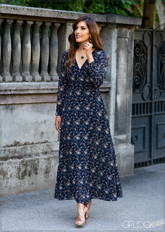 Long Sleeve Printed Maxi Dress