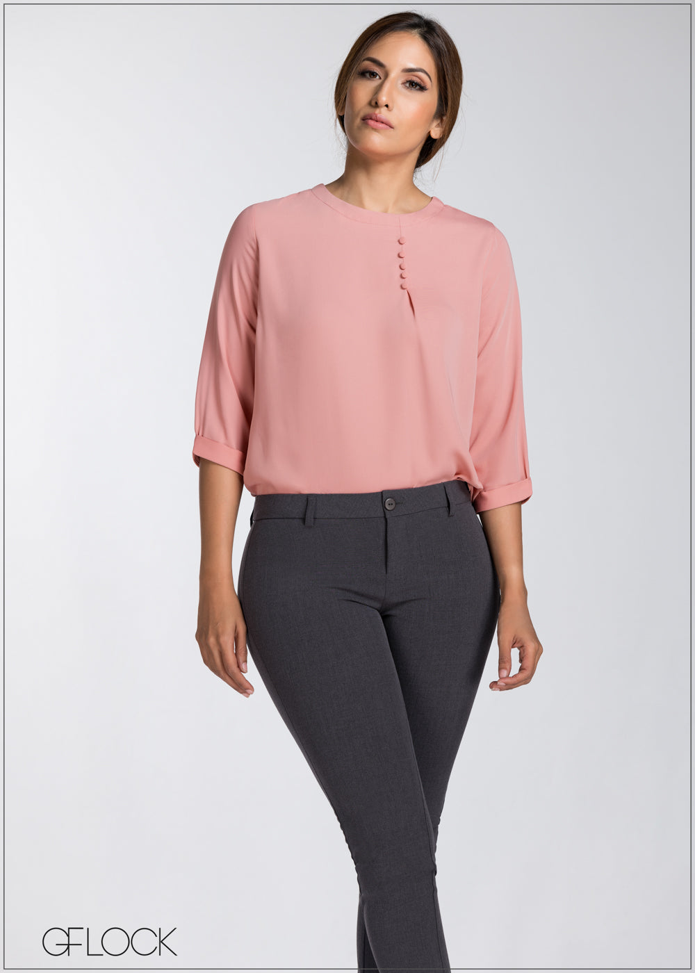 Neck Button Detail Workwear Top