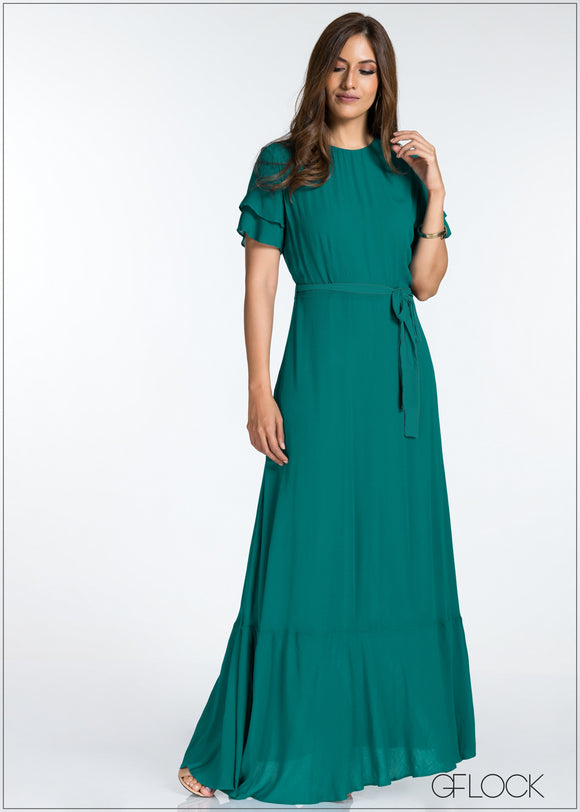 Flare Sleeve Maxi Dress
