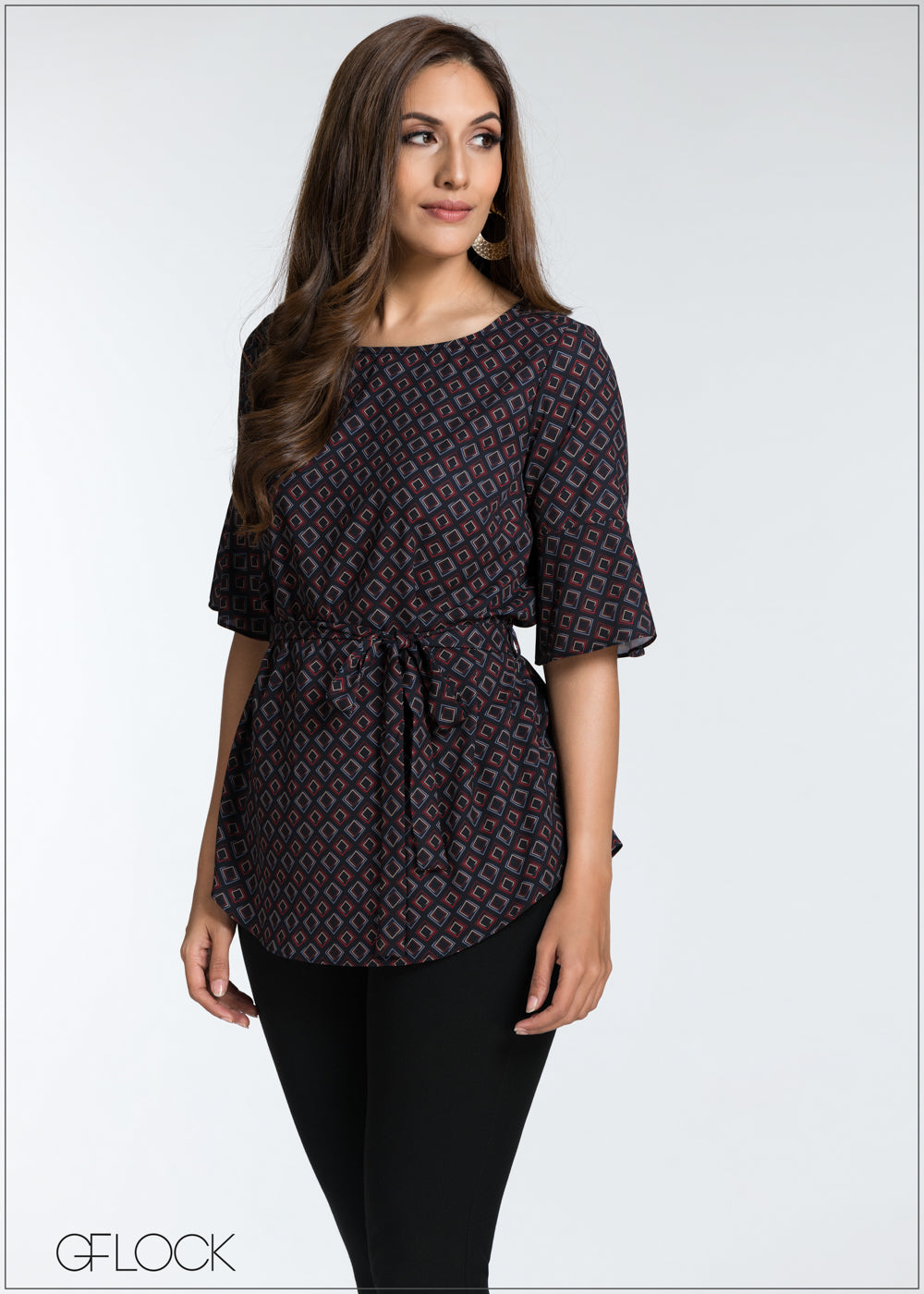 Tie Detail Printed Top