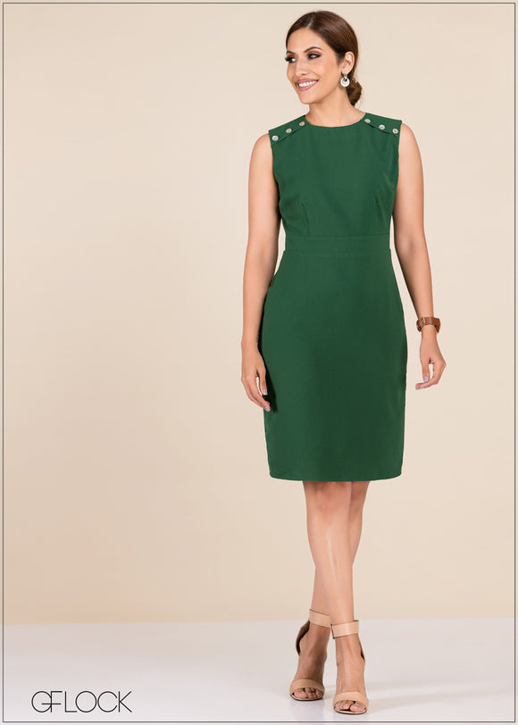 Dress With Shoulder Button - GFLOCK.LK