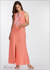Embroidered Party Linen Maxi