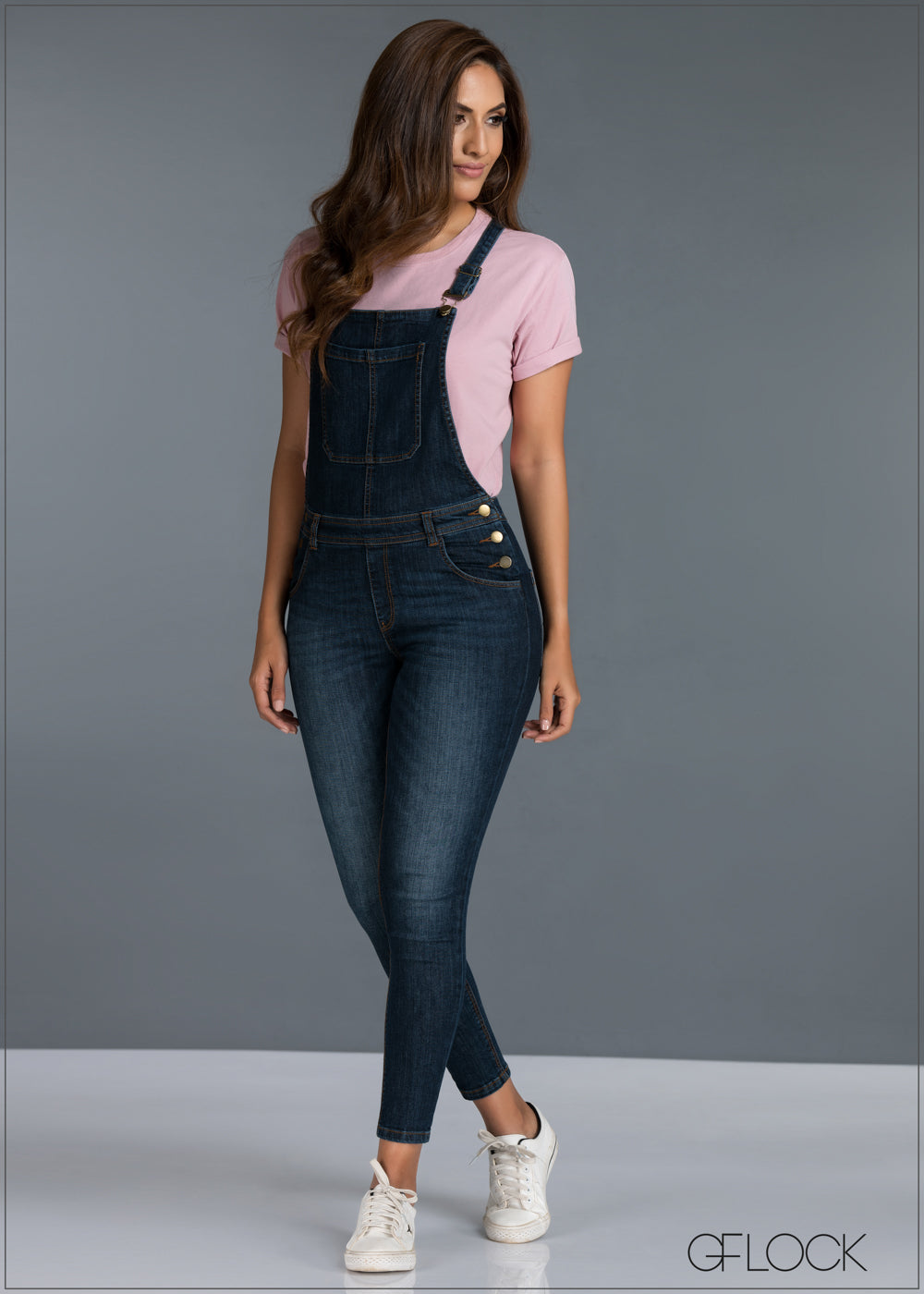 Mid Washed Skinny Dungaree