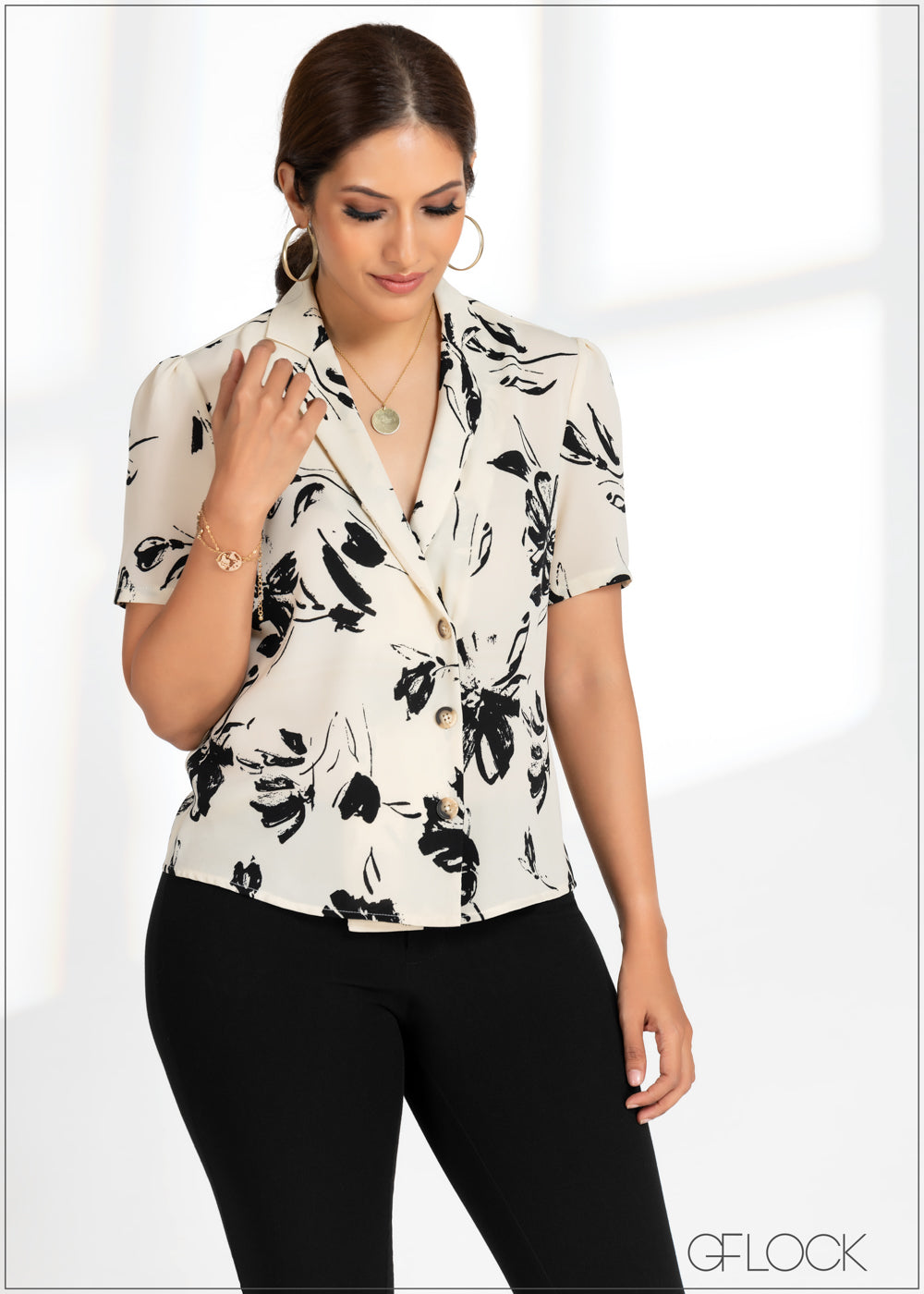 Printed Collared Top - GFLOCK.LK