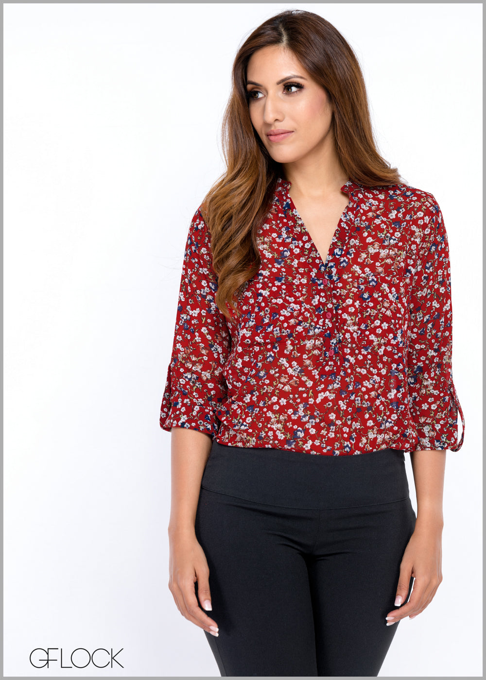 Double Pocket Printed Workwear Top